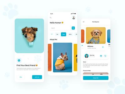 🐶Pet Adoption App🐶 interface ux ui creative pet adopt pet adoption adoption animal cat app dog pet rescue pet store animal food social minimalist