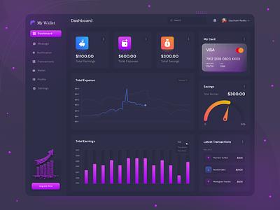 Finance Dashboard Design website transaction dashboard dark theme income dashboad ux uiux interface finance financial app admin design fintech