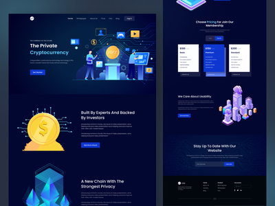 Cryptocurrency Landing Page cryptocurrency crypto trading web design webdesign website stock crypto website crypto wallet landing page bitcoin website bitcoin mining investment website ui ux landingpage cryptocurrency app uiux 3d design