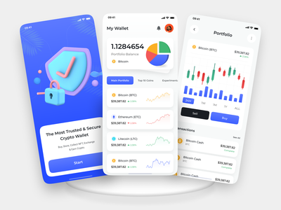 Crypto Wallet - Mobile Application creative interface crypto cryptocurrency light chart trading wallet nft nfts etheureum bitcoin blockchain coin app apps ui ux product design marketcap
