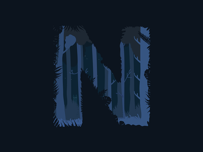 N trees dark stranger things woods forest night 36daysoftype typography type n nocturnal