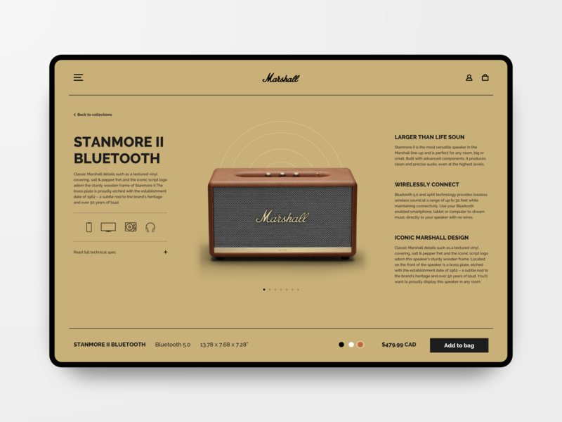 Marshall Speaker Web Dribbble