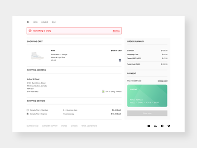 online store checkout + flash message UI checkout flow ecommerce app daily 100 challenge daily ui dailyui ecommerce shop minimal e-commerce online store flash message error message checkout page checkout webstore web ui