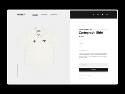 Carhartt WIP PDP exploration - UI concept dailyuichallenge dailyui e-commerce product detail page product page minimal online store online shop ecommerce app typography web store shopping ecommerce web design ux ui