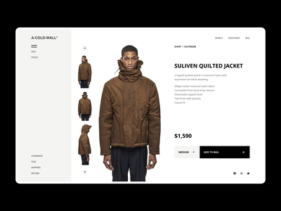 a-cold-wall* - web store PDP exploration webdesign streetwear fashion product page product detail page shopping online store web store ux minimal product design ui