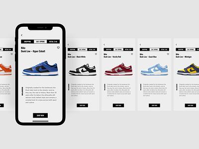 sneaker shop app - UI exploration uiux mobile app minimal shoes app online shop hypebeast nike ecommerce shopping online store ecommerce app mobile store store sneakers mobile ui mobile ui