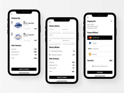 sneaker shop app - checkout exploration shopping bag add to bag add to cart ecommerce ecommerce app shopping online shop online store order e-commerce checkout process checkout flow checkout page checkout cart ui cart payment product design ui mobile app