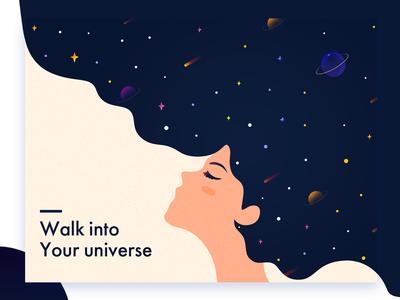 universe web star illustration blue hair universe design