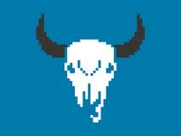 Pixel Bison Skull
