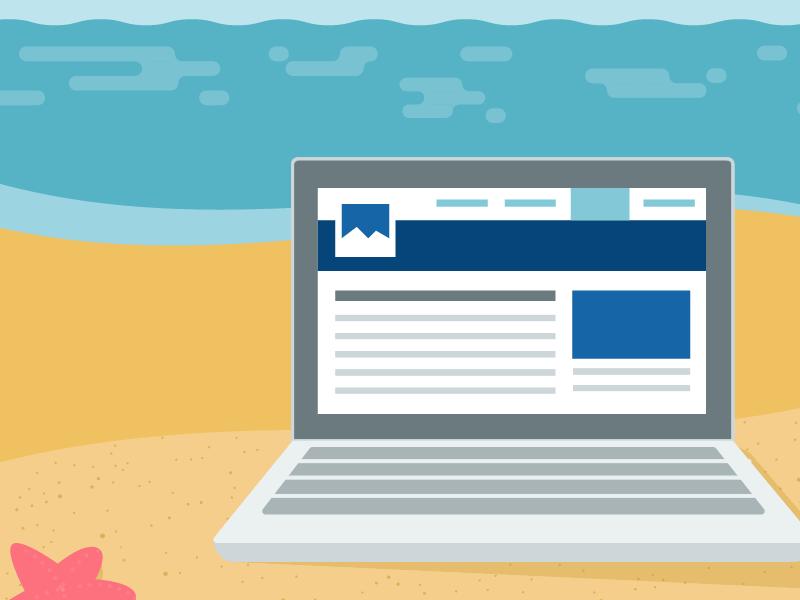 Summer laptop summer beach vector illustration computer flat ebook cover book sea starfish