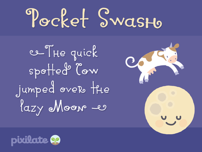 Pocket Swash Font font hand typography type moon cow swash