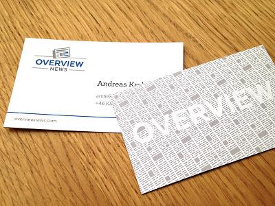 Overview Card overview newsprint texture business card newspaper news card business