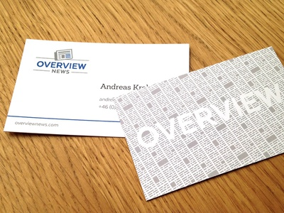 Overview Card overview newsprint texture business card newspaper news card business