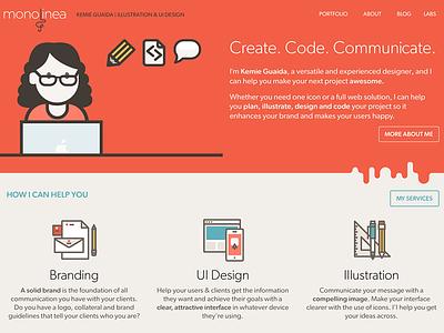 Monolinea portfolio site illustration flat webdesign personal portfolio site