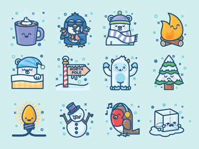 Winter Creatures Sticker Pack emoji snow christmas yeti vector cold icons imessage stickers winter