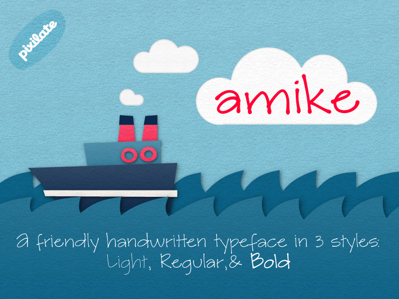 Amike handwriting font cutout boat paper friendly type design typeface handwriting font