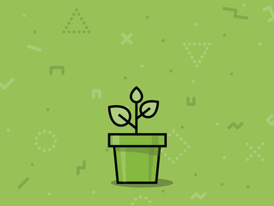 Growth pot leaf line illustration outline simple green vector icon plant growth grow
