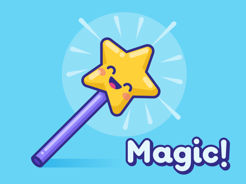 Magic! star magic wand magic kawaii illustration vector cute