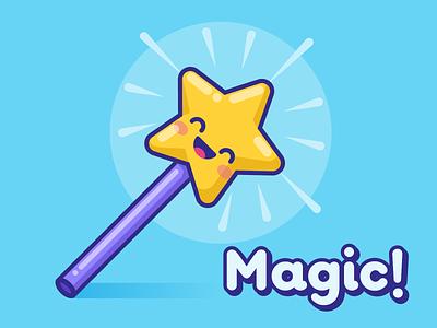Magic! star magic wand magic kawaii illustration vector cute
