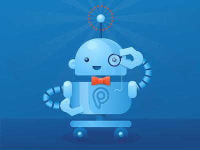Monocle elegant bowtie vector illustration cute robot monocle