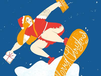 Merry Christmas 2020 holiday card holidays xmas presents snowboard santa claus santa christmas flyer christmas card christmas merry xmas digital art girl drawing digital illustration woman procreate illustration