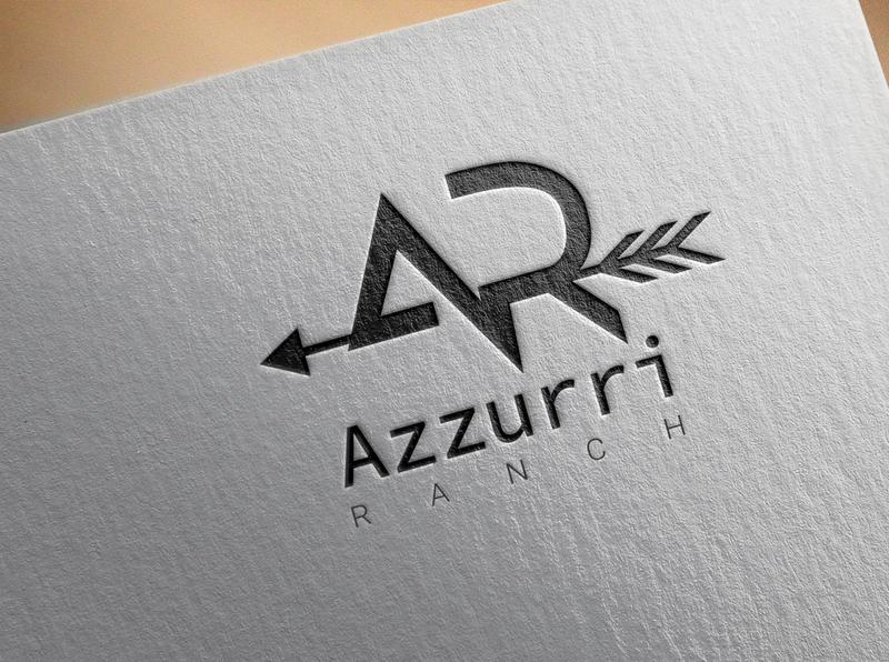 AR Azurri Ranch Logo advertisement icon vector flat logo design illustration branding typography
