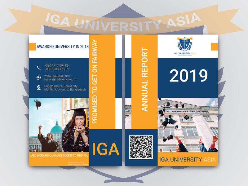 IGA University annual report flat flyer branding design advertisement typography cover design