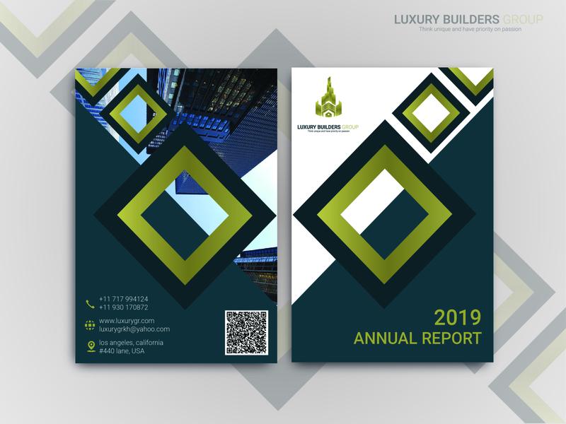 Luxury Builders Annual Report flat advertisement flyer branding typography cover design
