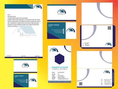 Stationary design website icon typography vector illustration envelope branding logo id card design bussines card