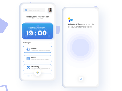 Schedule assistant app assets card home page voice search simple design design mobile mobile app design mobile ui mobile app home homepagedesign google apps google assistant assistance assistant