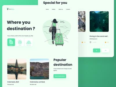 Traveling site landing page UI concept homepage webdesign uiux ui