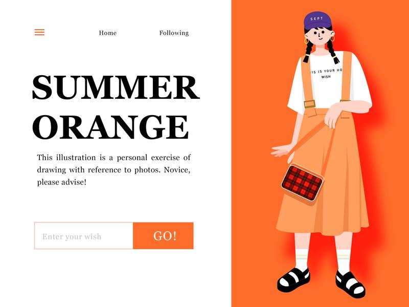 Orange summer illustration