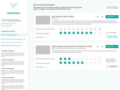 UI Concept for Judging Flow django web app teal ui