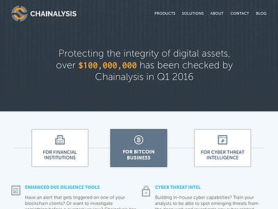 Chainalysis Homepage Design slate single page landing page homepage