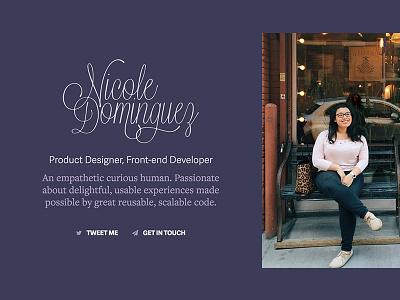 Updated Personal Website resume homepage personal site tan vanilla slate plum purple freelance