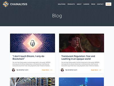 Chainalysis Blog Design + Implementation navy two column bitcoin blockchain jekyll ghost blog