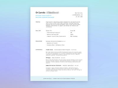 Resumé redesign for a friend blue developer print resume