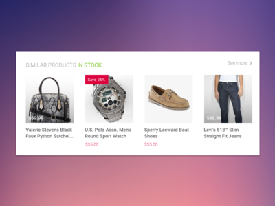 UI Variations on Similar Products Widget shopping cart buy now widget module similar products ecommerce ui