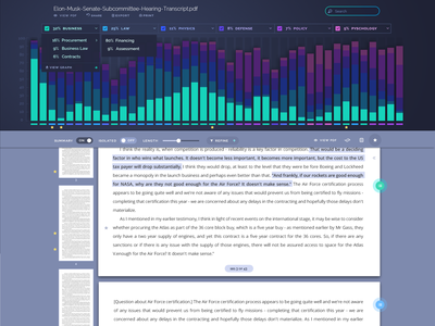 Ellipse - Document View menu dropdown ui ux design document text bar graph machine learning data interface dashboard