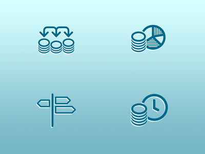 Icons for financial client direction icons money account transfer financial