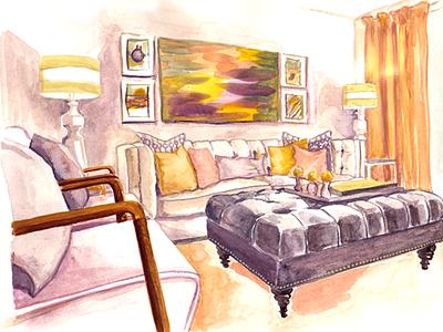 Interior watercolor painting interior handmade paint watercolor