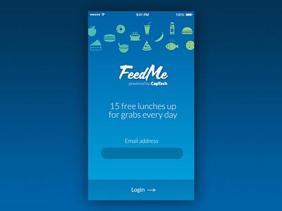 FeedMe App ui scriptorama lato splash login icons logo blue mobile app