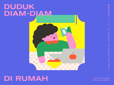 STAY AT HOME | LESSON 05: TAKE A BREAK WITH SNACKSSS editorial graphic design typography minimal malaysia illustration food design cooking character design adobe illustrator