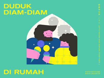 STAY AT HOME | LESSON 06: IMPROVE OUR RELATIONSHIP THOUGH FOOD kids illustration couple editorial graphic design typography minimal malaysia illustration food design cooking character design adobe illustrator