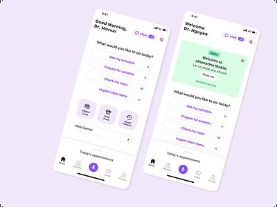 athenaOne Mobile Home Screen ehr medicine healthcare product design mobile app ios