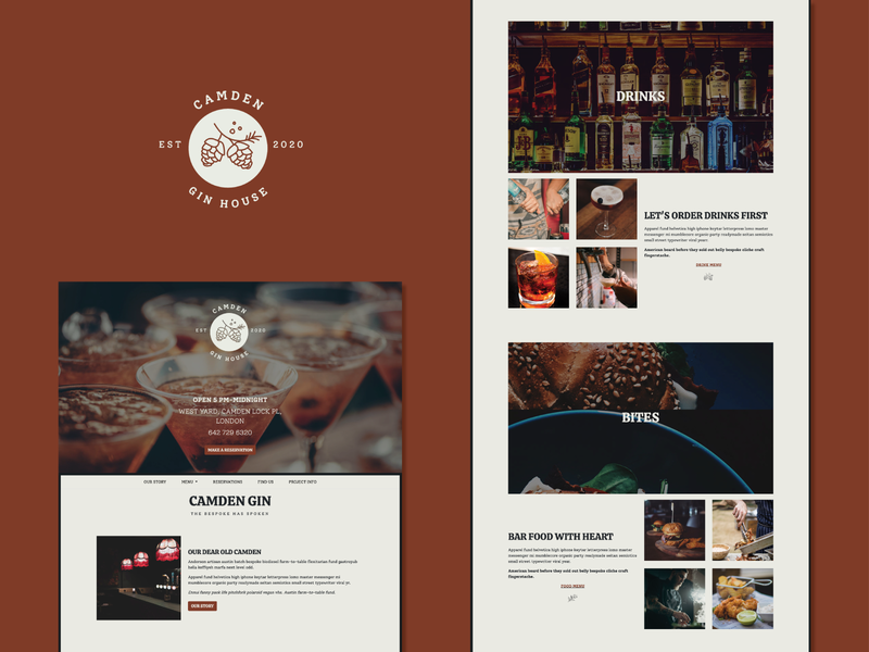 Camden Gin House responsive website