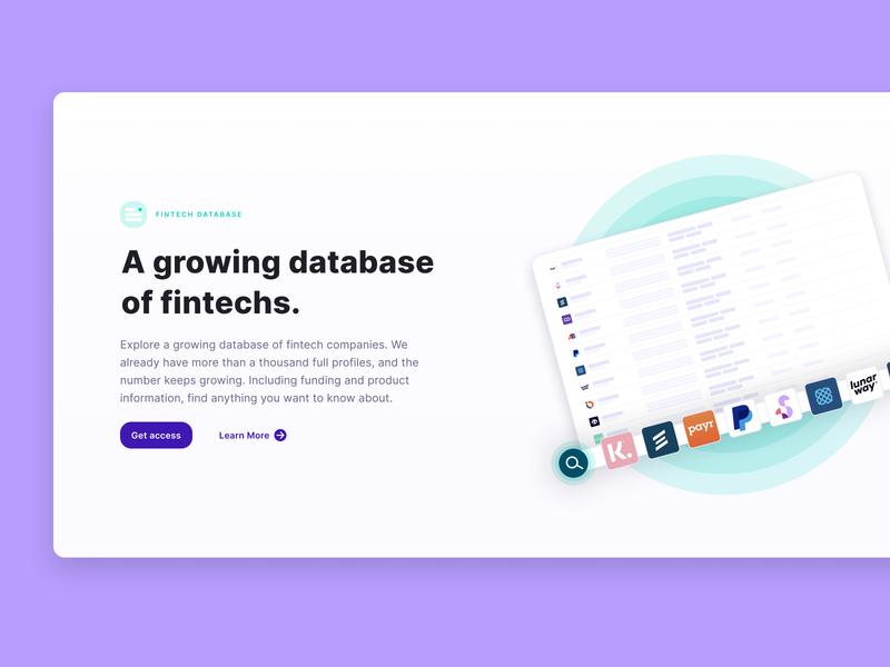Fintechdb Landing Page product illustration startup fintech desktop web ui webdesign