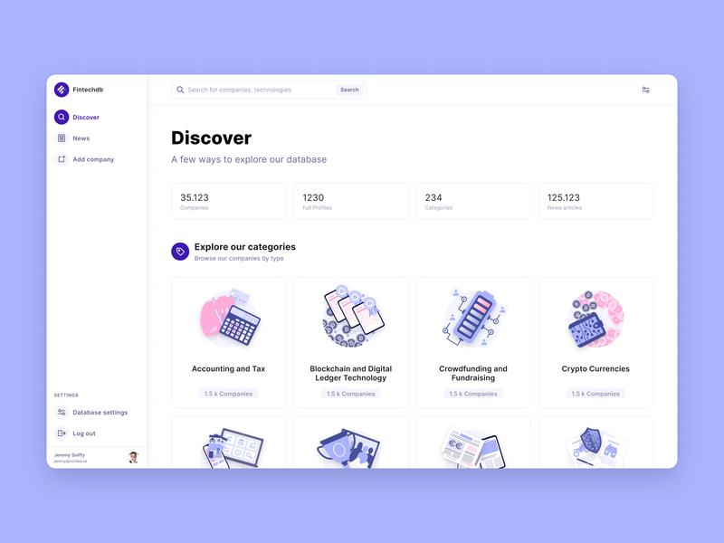 Fintechdb New Discover Page & Illustration Set startup desktop data product illustration ux ui fintech database