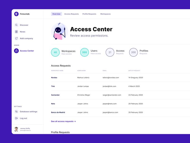 Fintechdb Access Center admin status database fintech settings account dashboard desktop ux ui data center access