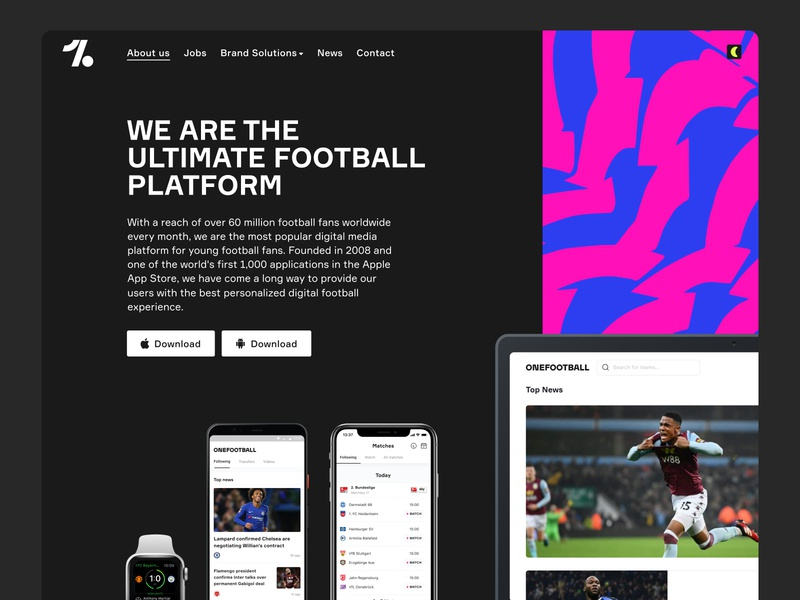 OneFootball Dark Mode football onefootball marketing landingpage app edgy pattern darkmode website web webdesign
